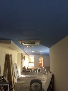 まずは塗装から。天井が青空のような色になりました